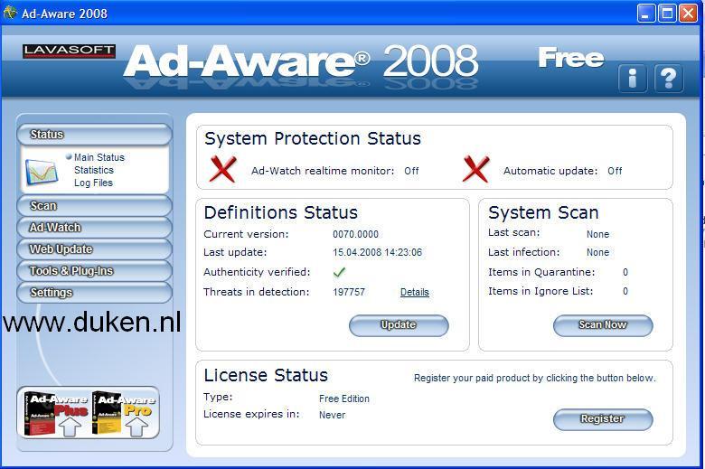 Ad-Aware 2007 Status screen.