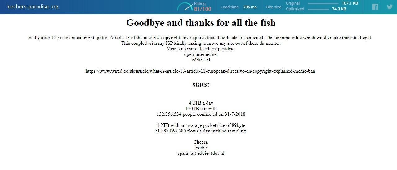Spectaculair nieuws van Leechers Paradise.